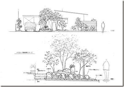 雑木に包まれた住まい 立面図