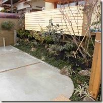ウッドデッキと雑木の庭、駐車場